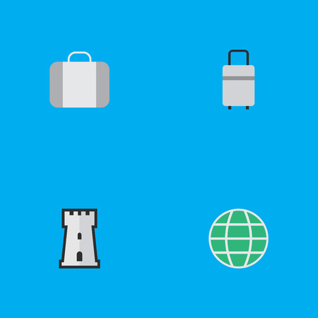 Vector Illustration Set Of Simple Travel Icons. Elements Baggage, World, Tower And Other Synonyms Planet, Luggage And World.