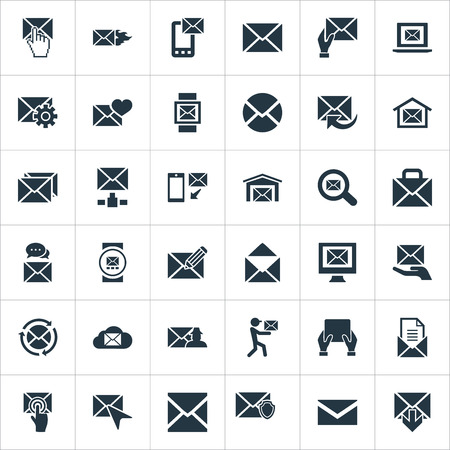 Vector Illustration Set Of Simple Mail Icons. Elements Sending, Postal Box, Tuning And Other Synonyms Address, Ingoing And Web. Çizim