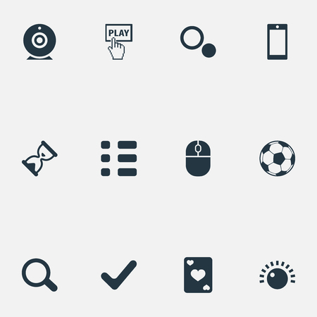 Vector Illustration Set Of Simple Leisure Icons. Elements Ace, Circles, Display And Other Synonyms Football, Wait And Checklist.