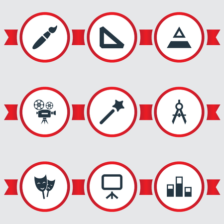 Vector Illustration Set Of Simple Design Icons. Elements Wizard Stick, Paintbrush, Triangle Ruler And Other Synonyms Wand, Slideshow And Camera.