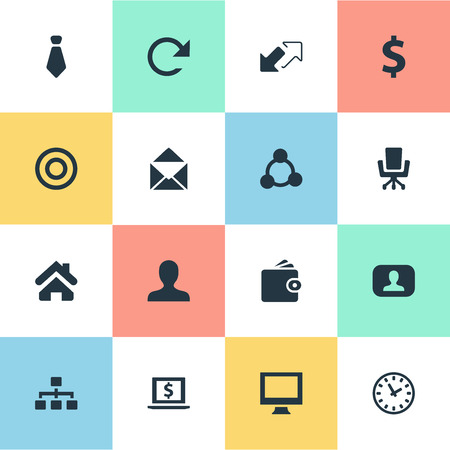 Vector Illustration Set Of Simple Business Icons. Elements Watch, Circle, Home And Other Synonyms Timer, Real And Tie.