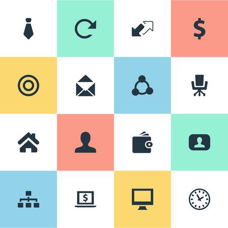 Vectorillustratiereeks Eenvoudige Bedrijfspictogrammen. Elementen kijken, cirkel, thuis en andere synoniemenklok, echt en stropdas.