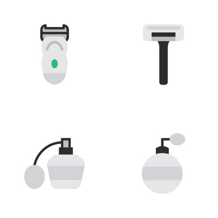 Vector Illustration Set Of Simple Barber Icons. Elements Shaver, Electronic, Perfume And Other Synonyms Machine, Perfume And Bottle. Illustration