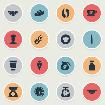 簡易キッチンのアイコンのベクトル イラスト セット。要素シェフ、コーヒー、ハーブのドリンク、他の同義語は、夏、料理と帽子します。