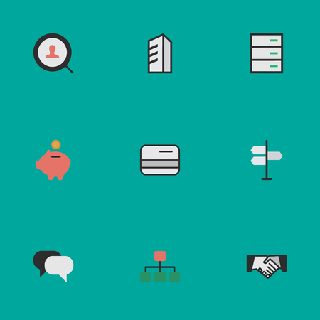 Vector Illustration Set Of Simple Business Icons. Elements Structure, Pay, Moneybox And Other Synonyms Engine, Magnifier And Bank. Çizim