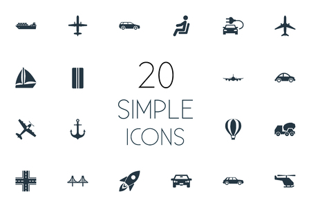 Vector Illustration Set Of Simple Shipment Icons. Elements Carriage, Jet, Electric Vehicle And Other Synonyms Workshop, Rocket And Cement. Illustration