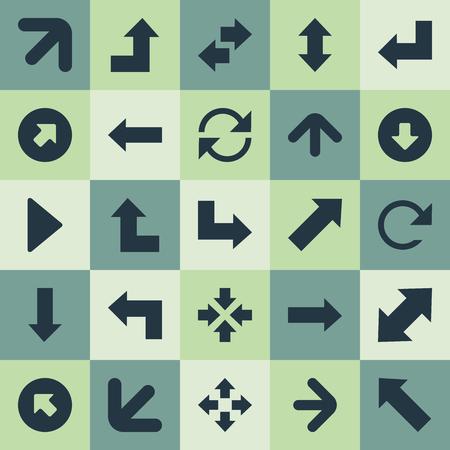 Vectorillustratiereeks Eenvoudige Indicatorpictogrammen. Elementen naar beneden, oriëntatie, linkse richting en andere synoniemen Herladen, omcirkelen en vergroten. Stock Illustratie