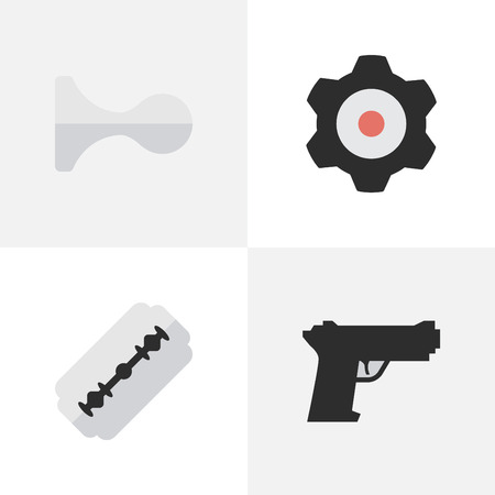Vector Illustration Set Of Simple Criminal Icons. Elements Blade, Hunting, Weapon And Other Synonyms Shaver, Hunting And Mechanical.