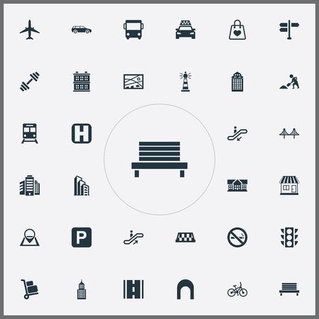 シンプルなインフラアイコンのベクトルイラストセット。要素の公園の座席、キオスク、学校および他の同義語のキオスク、位置および航空機。