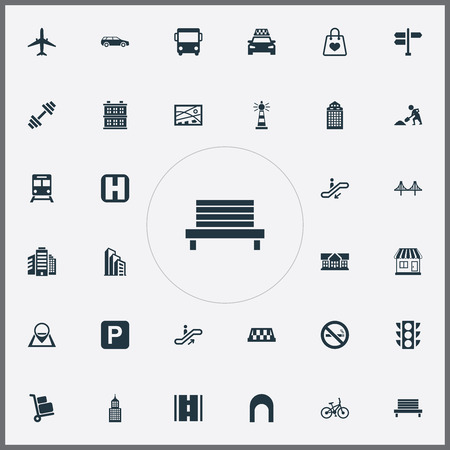 Vector Illustration Set Of Simple Infrastructure Icons. Elements Park Seat, Kiosk, School And Other Synonyms Kiosk, Location And Aircraft. Иллюстрация