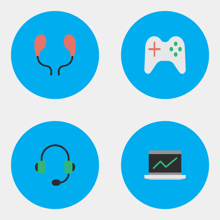 Vector Illustration Set Of Simple Gadget Icons. Elements Notebook, Gamepad, Microphone And Other Synonyms Microphone, Joystick And Earphone.