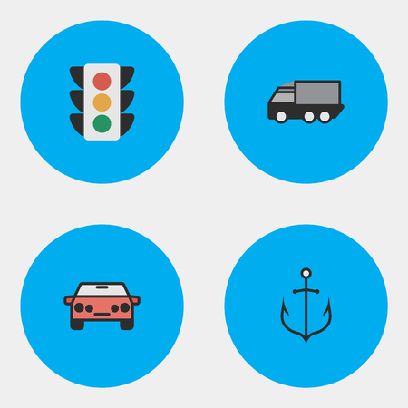 Vector Illustration Set Of Simple Shipping Icons. Elements Traffic Lights, Lorry, Auto And Other Synonyms Lights, Lorry And Sedan.