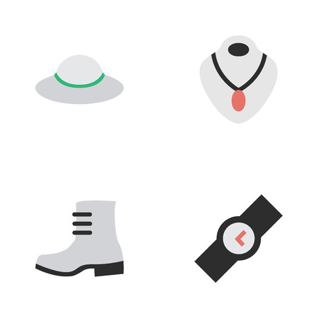 Vector Illustration Set Of Simple Accessories Icons. Elements Boot, Female Cap, Wristwatch And Other Synonyms Boot, Wristwatch And Choker.