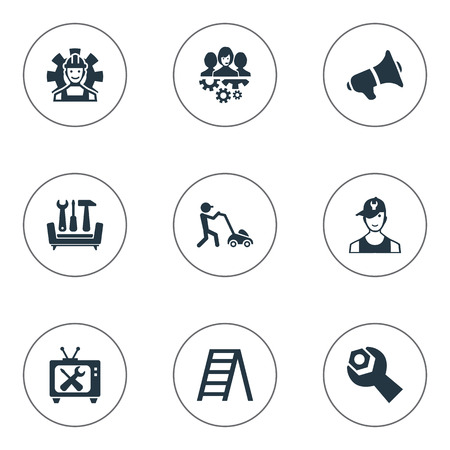 Vector Illustration Set Of Simple Service Icons. Elements Technician, Solution Centre, Stairway And Other Synonyms Team, Stepladder And Laborer.