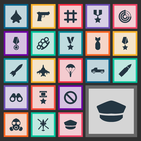 Vector Illustration Set Of Simple War Icons. Elements Sharpshooter, Gun, Shot And Other Synonyms Prison, Bomber And Orden.