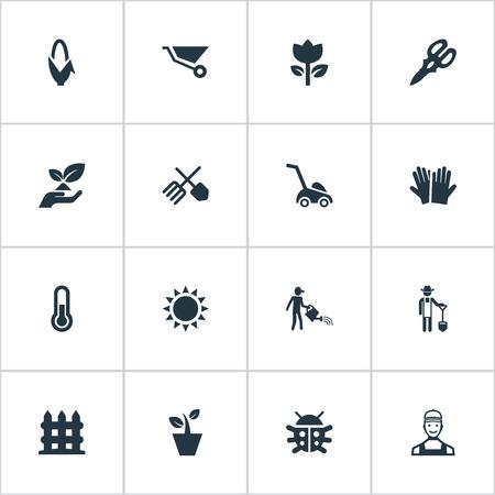 벡터 일러스트 레이 션 간단한 정원 아이콘의 집합입니다. 요소 파머, 잔디 절단 기계, 옥수수 및 기타 동의어 원예, 손질 및 식물.