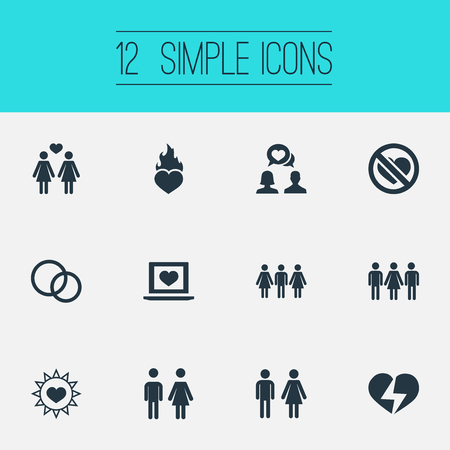 Vector Illustration Set Of Simple Wedding Icons. Elements People, Friends, Pair And Other Synonyms No, Prohibited And Hearth.