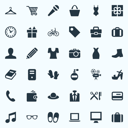 Vector Illustration Set Of Simple Accessories Icons. Elements Handset, Monitor, Men Shoes Synonyms Photographing, Casual And Swimsuit.