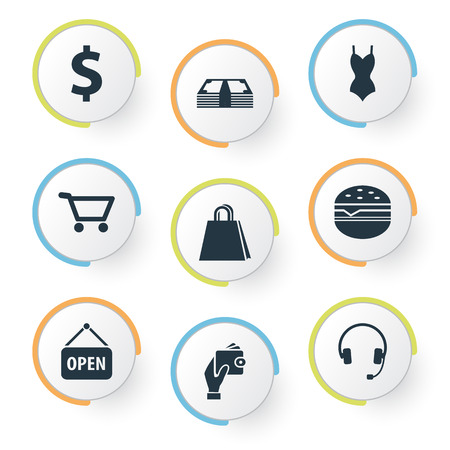 mujer en el supermercado: Vector Illustration Set Of Simple Shopping Icons. Elements Fast Food, Dollar, New Item And Other Synonyms Holding, E-Commerce And Electronics.