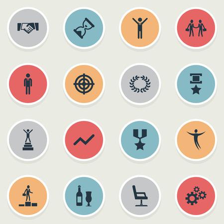 벡터 일러스트 레이 션 간단한 트로피 아이콘의 집합입니다. 요소 의자, 차트, 보상 및 기타 동의어 트로피, Infographic 및 군사.
