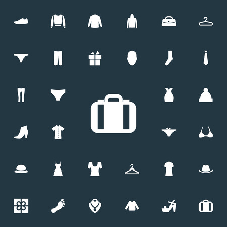 Vector Illustration Set Of Simple Dress Icons. Elements Pants, Sweatshirt, Purse And Other Synonyms Shirt, Head And Footwear. Illustration