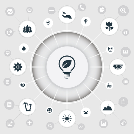 Vector Illustration Set Of Simple Nature Icons. Elements Reef, Jungle, Orca And Other Synonyms Fruit, Summit And Animal.