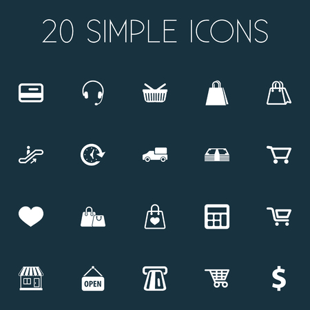 mathematics: Vector Illustration Set Of Simple Purchase Icons. Elements Boutique, Moving Staircase, Shipping And Other Synonyms Coin, Basket And Welcome.