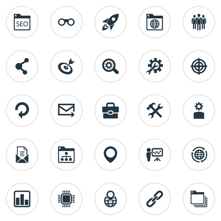 Vector Illustration Set Of Simple Search Icons. Elements Optical Zoom, Reroute, Statistics And Other Synonyms Statistic, Aim And Bookmark. Иллюстрация