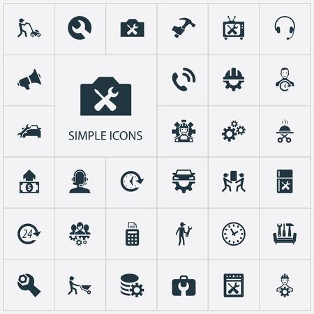 Ilustración vectorial Conjunto de iconos de ayuda simple. Elementos Pos Terminal, De Servicio, Mecanismo Y Otros Sinónimos Taller, Reloj Y Operador.