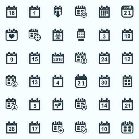 Vector Illustration Set Of Simple Calendar Icons. Elements Intelligent Hour, Twenty-One, Date Block And Other Synonyms Fifteenth, Winter And Spring.
