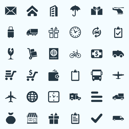 garage: Vector Illustration Set Of Simple Distribution Icons. Elements Truck, Automobile, Plane And Other Synonyms Complete, Citizenship And International. Illustration