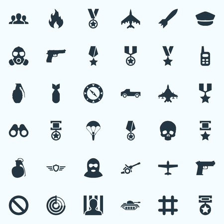 Vector Illustration Set Of Simple Battle Icons. Elements Prison, Terrorist, Grenade And Other Synonyms Forbidden, Weapons And Prison.