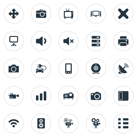 Vector Illustration Set Of Simple Hardware Icons. Elements Volume, Broadcasting, Projector And Other Synonyms Speaker, Delete And Cinematography.