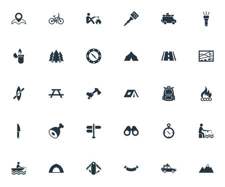 Vector Illustration Set Of Simple  Icons. Elements Position, Tent;, Hatchet And Other Synonyms Backpack, Self And Smoking.