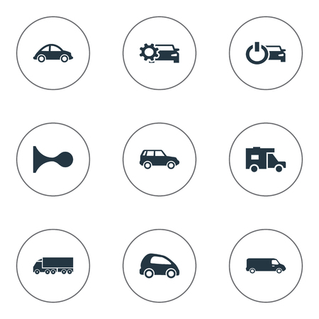 Vector Illustration Set Of Simple Automobile Icons. Elements Vehicle, Van, Renovation And Other Synonyms Beep, Gear And Klaxon.
