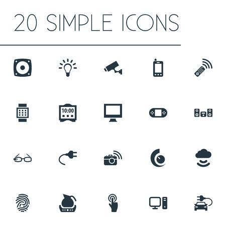 Illustration vectorielle définie des icônes simples d'Internet. Éléments Ampoule, affichage interactif, théière et autres synonymes Interactif, nuage et montre. Banque d'images - 85693585