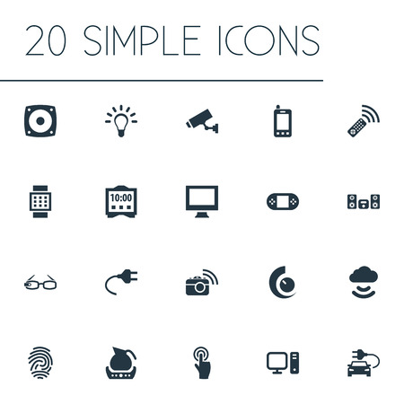 Vector Illustration Set Of Simple Internet Icons. Elements Bulb, Interactive Display, Teapot And Other Synonyms Interactive, Cloud And Watch.