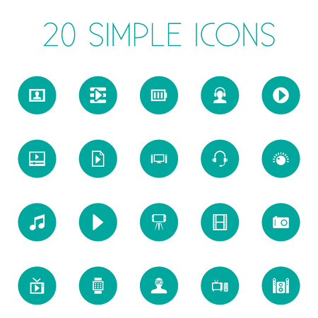 Vector Illustration Set Of Simple Multimedia Icons. Elements Playlist, Meloman, Headphone And Other Synonyms Note, Loudspeaker And Tripod.