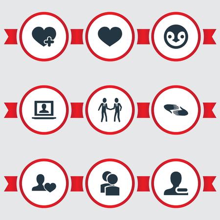 벡터 일러스트 레이 션 간단한 Buddies 아이콘의 집합입니다. 요소 프로필, 자선, 사용자 및 기타 동의어 제거, 심장 및 동반자 제거.