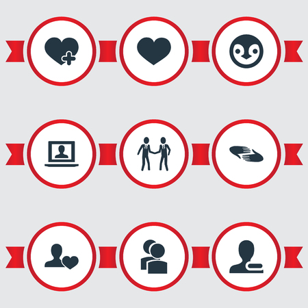 Vector Illustration Set Of Simple Buddies Icons. Elements Profile, Charity, Remove User And Other Synonyms Remove, Heart And Companion.