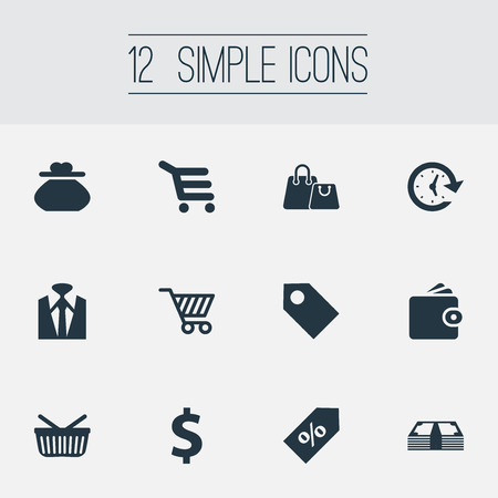 Vector Illustration Set Of Simple Money Icons. Elements Buy Button, Price, Purse And Other Synonyms Sack, Purse And Tag.