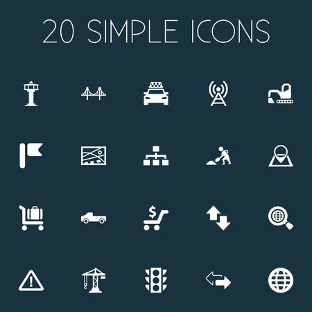 Vector Illustration Set Of Simple Infrastructure Icons. Elements Navigation, Banner, Shopping And Other Synonyms Antenna, Trolley And Excavator. Illustration