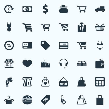 벡터 일러스트 레이 션 간단한 바구니 아이콘의 집합입니다. 요소 Atm, 새 항목, 전자 Commerece 및 기타 동의어 트럭, 배달 및 쇼핑. 일러스트