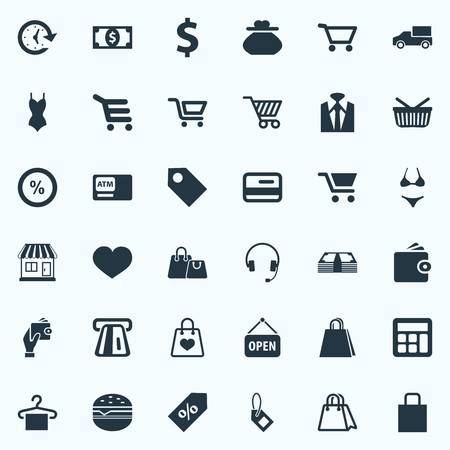 Vector Illustration Set Of Simple Basket Icons. Elements Atm, New Item, E-Commerece And Other Synonyms Truck, Delivery And Shopping.