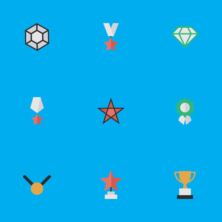 Vector Illustration Set Of Simple Trophy Icons. Elements Medal, Reward, Goblet And Other Synonyms Reward, Stone And Gold.