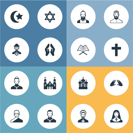 Vector Illustration Set Of Simple Faith Icons. Elements Pater, Mohammedanism, David Star And Other Synonyms Synagogue, Chaplain And Taoist.