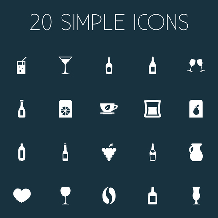 Vector Illustration Set Of Simple Beverage Icons. Elements Herbal Brew, Whiskey, Juice And Other Synonyms Brandy, Grapes And Alcohol.