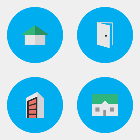 Vector Illustration Set Of Simple Estate Icons. Elements Entry, Construction, House And Other Synonyms Construction, Home And Door.