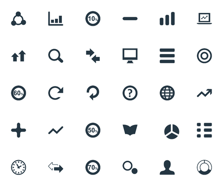 Vector Illustration Set Of Simple Analytics Icons. Elements Fifty, Round, Opposite And Other Synonyms Earth, Dictionary And Refresh.