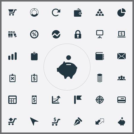 Vector Illustration Set Of Simple Finance Icons. Elements Calculator, Growing Sales, Segmentation And Other Synonyms Aim, Bullion And Percentage.